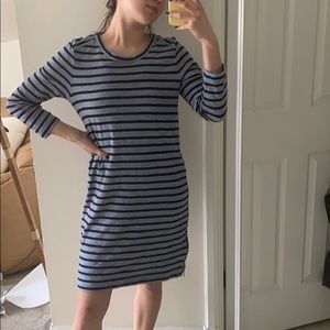 J. Crew navy and blue striped shift dress